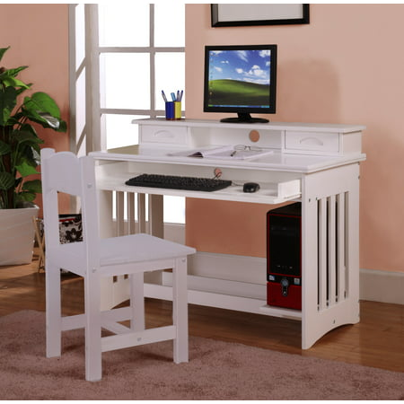 American Furniture Classics, Solid Pine Kids Desk, Hutch and Chair, White