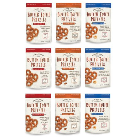 Everton Toffee Butter Toffee Pretzels, Variety Pack (4 oz. bag, 9-pack). Gourmet Artisan Toffee Covered Pretzels, Sweet and Salty Mini Pretzel Snacks, Small Batch Crafted 9 Pack (Stall Snack)