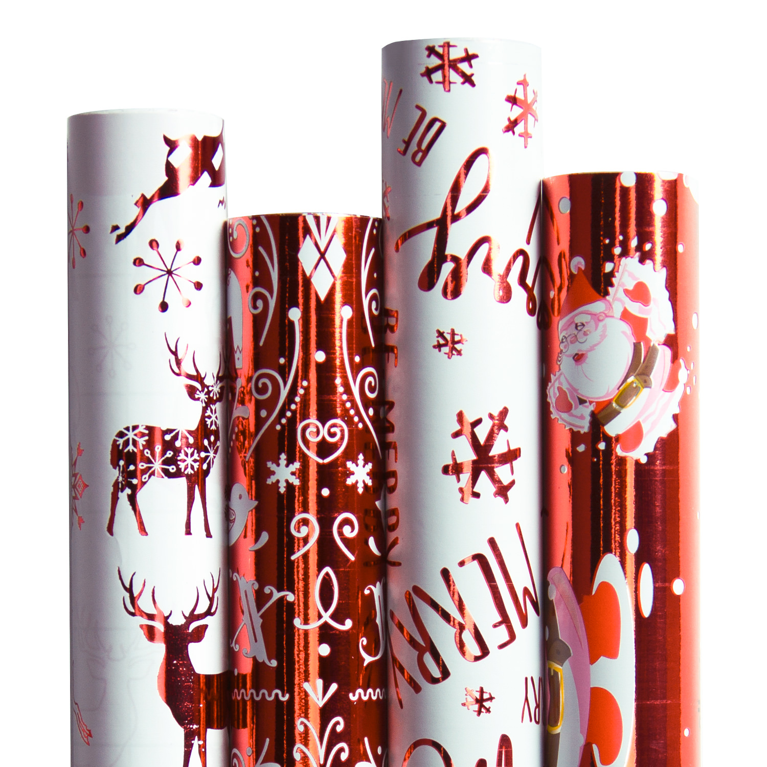 "LaRibbons Christmas Gift Wrapping Paper - Red/White Metallic Collection 4 Rolls - 30"" x 120""/Roll"