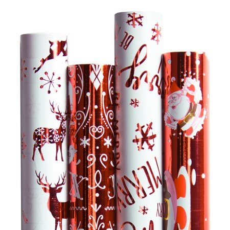 Ruspepa Christmas Gift Wrapping Paper - Red/White Metallic Collection 4 Rolls - 30