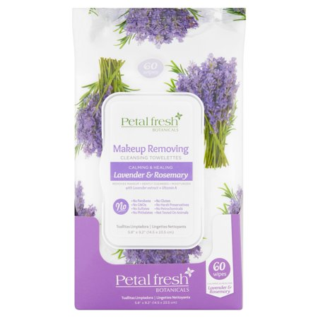 Petal Fresh Botanicals Lavender   Rosemary Makeup Removing Cleansing Towelettes  60 Count