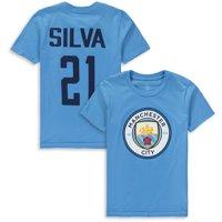 David Silva Manchester City Youth Club Name & Number T-Shirt - Light Blue