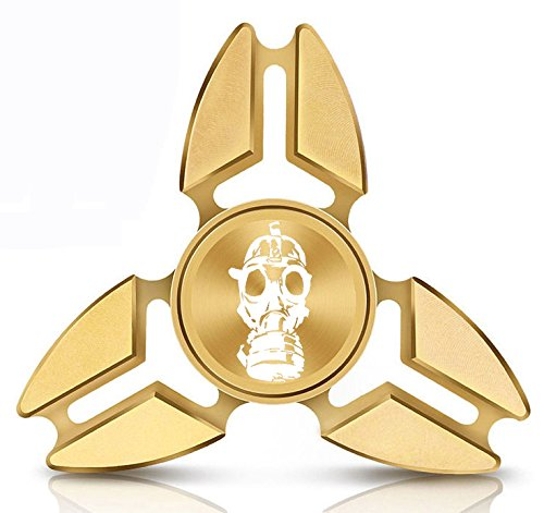 Fidget Spinner Tri-Spinner Gold Aluminum Metal Gas Mask Zombie by