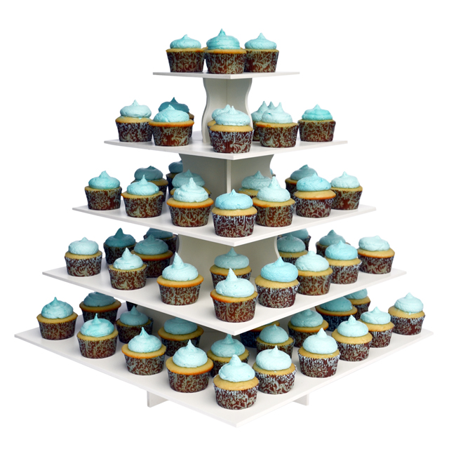The Smart Baker 5 Tier Square PVC Cupcake Tower Stand