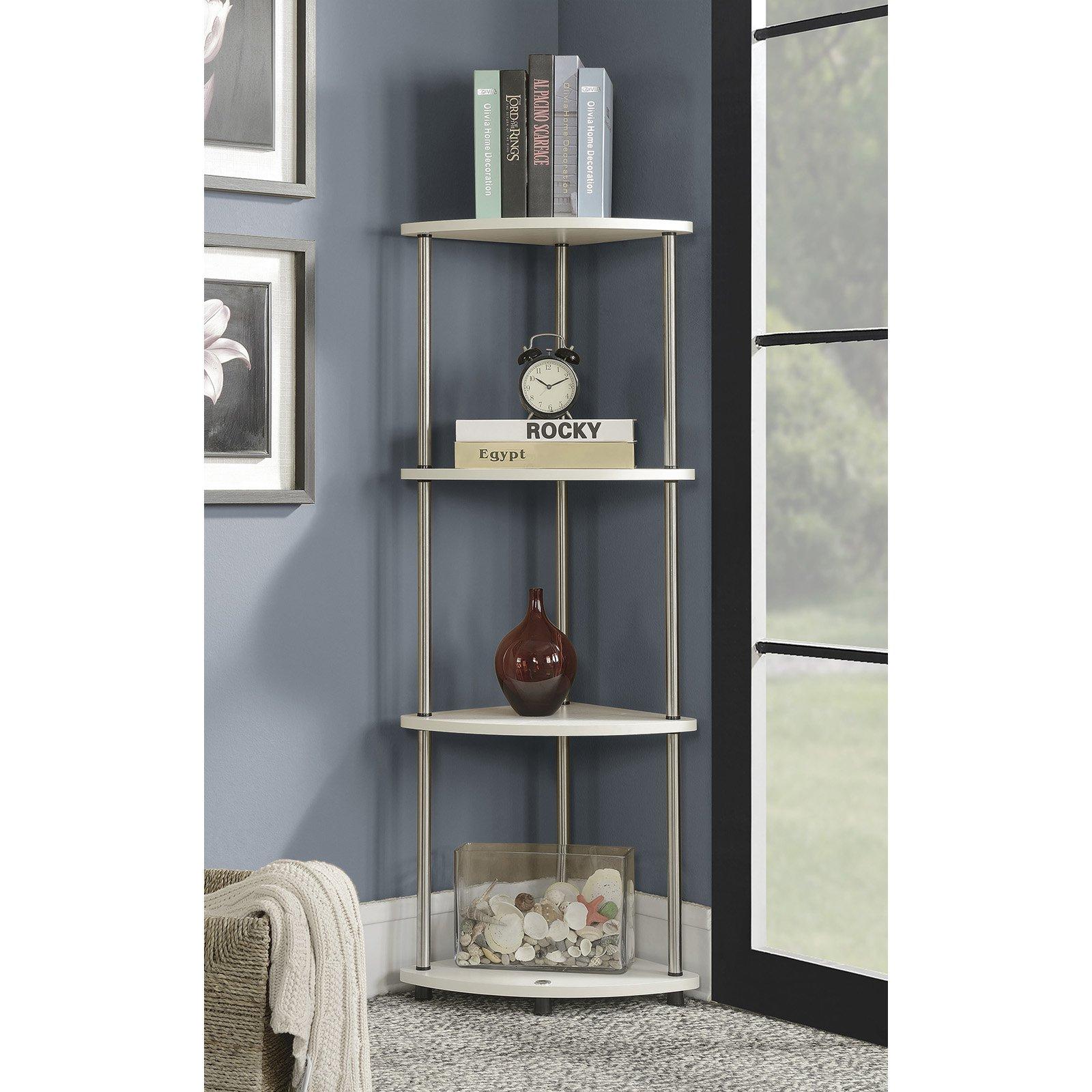 Convenience Concepts Designs2Go No Tools 4 Tier Corner Shelf, Black and Silver