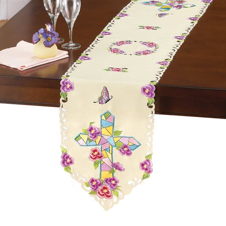 Mosaic Cross (Mosaic Cross & Flowers Embroidered Table Linens - Great for Easter,)