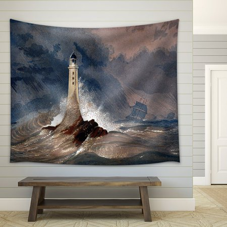 wall26 - an Engraved Vintage Colour Illustration of Eddystone Lighthouse - Fabric Wall Tapestry Home Decor - 51x60 inches