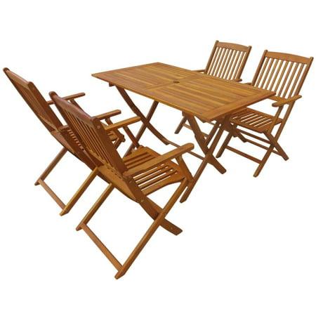 5 Piece Folding Outdoor Dining Set Solid Eucalyptus Wood ()
