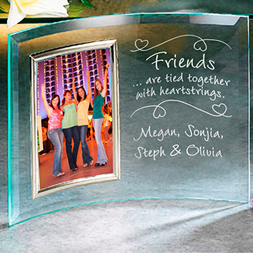 Personalized Friends Heartstrings Beveled Frame - 3 1/2x5