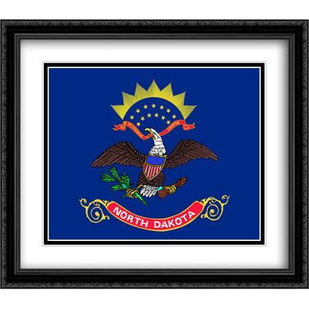 North Dakota State 2x Matted 32x28 Large Black Ornate Framed Art Print by The Flag Art Print Series