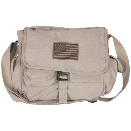American Flag Patch Messenger Bag w/ 10 Pockets Color Washed Khaki Canvas