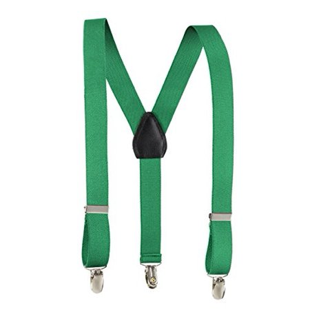 Fit Rite Kids and Baby Adjustable Elastic Solid Colors Unisex Children Suspenders (22 Inch (7 months - 3 years), Kelly Green) - Green Suspenders