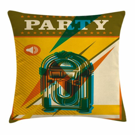 Halloween Themed Radio (Jukebox Throw Pillow Cushion Cover, Digital Retro Print Party Themed Old Antique Music Radio Set, Decorative Square Accent Pillow Case, 18 X 18 Inches, Brown Marigold and Turquoise, by)
