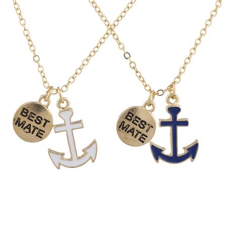 Lux Accessories Goldtone Best Friends Forever BFF Nautical BFF Necklace