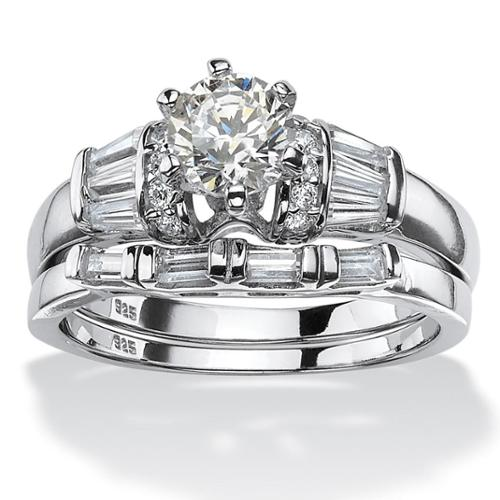 PalmBeach Platinum over Sterling Silver 2ct Round Cubic Zirconia 2-piece Bridal Ring Set Classic CZ Size 10
