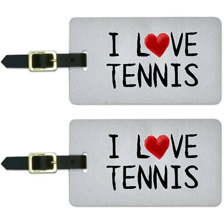 I Love Tennis Written on Paper Luggage Suitcase Carry-On ID Tags, Set of 2