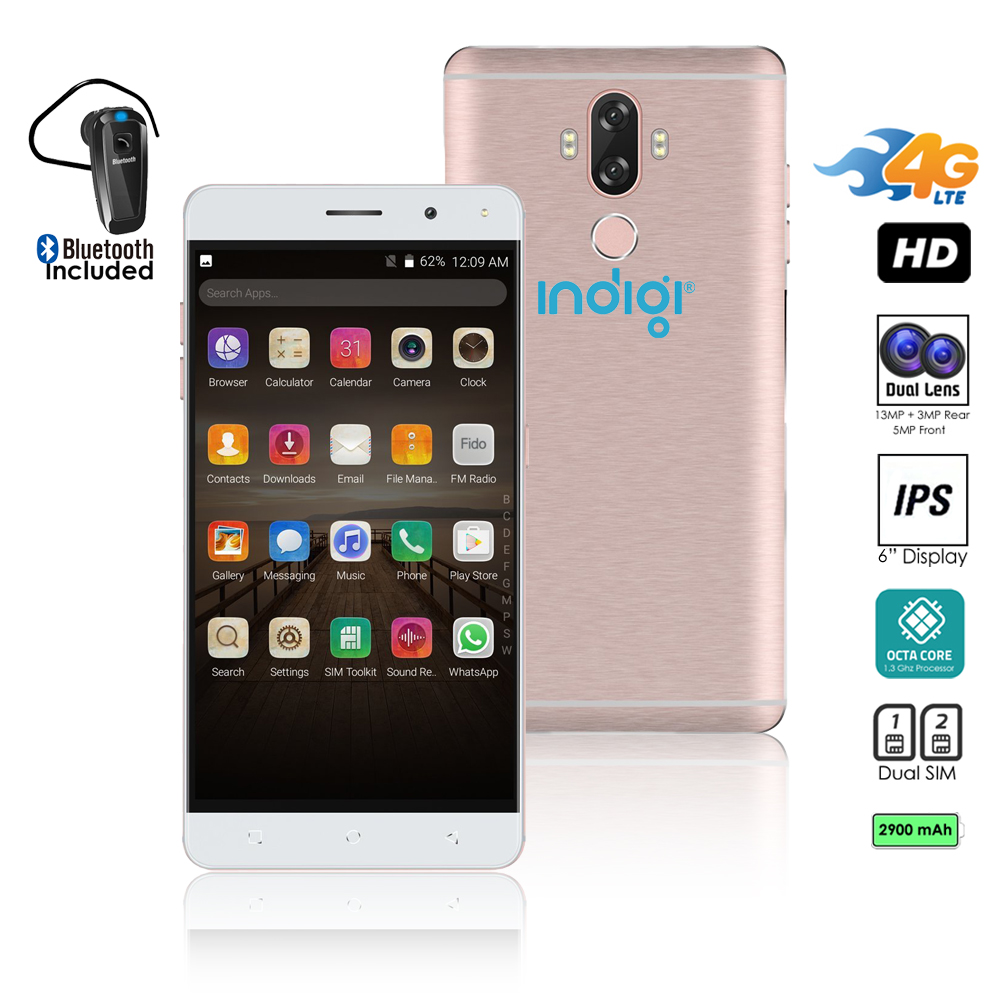 Indigi® Unlocked 4G LTE 6in Android 7.0 SmartPhone (13MP CAM + Fingerprint Scan + 2SIM Slots) + Bluetooth Headset