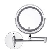 7''/6'' 10X/3X Magnifying 2 Side LED Lighted Wall Mount Mirror Touch Cosmetic Makeup Mirror with 360° Adjustable Brightness Silver For Bathroom Living Room Home
