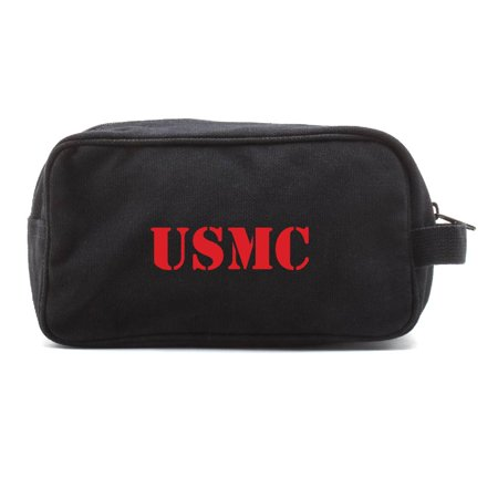 USMC United States Marine Corps Text Canvas Shower Kit Travel Toiletry Bag Case
