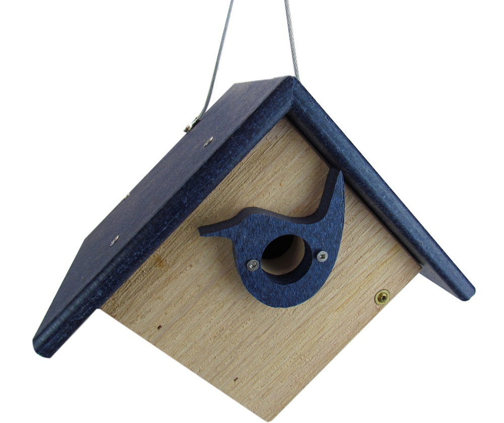 Nature Products USA Classic Blue Cedar & Recycled Poly Lumber Wren Birdhouse by JCs Wildlife