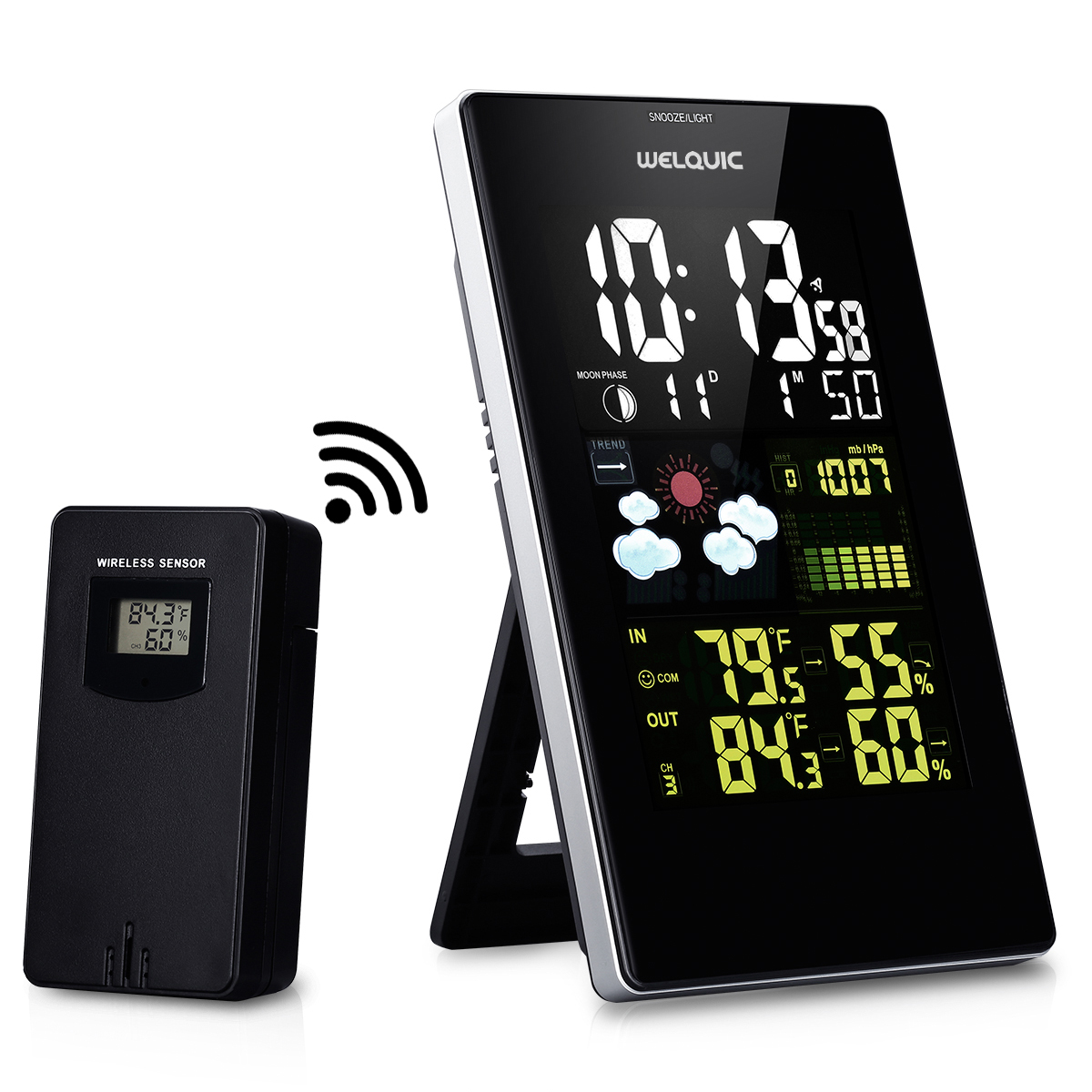 Welquic Wireless Weather Station Temperature Humidity Weather Forecast Thermometer 3352C US