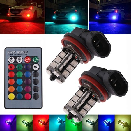 2-pack 12V 27SMD 5050 Multi-Color RGB LED Fog Lights Driving Bulbs Remote Control H8/H11 Replacement Lamp