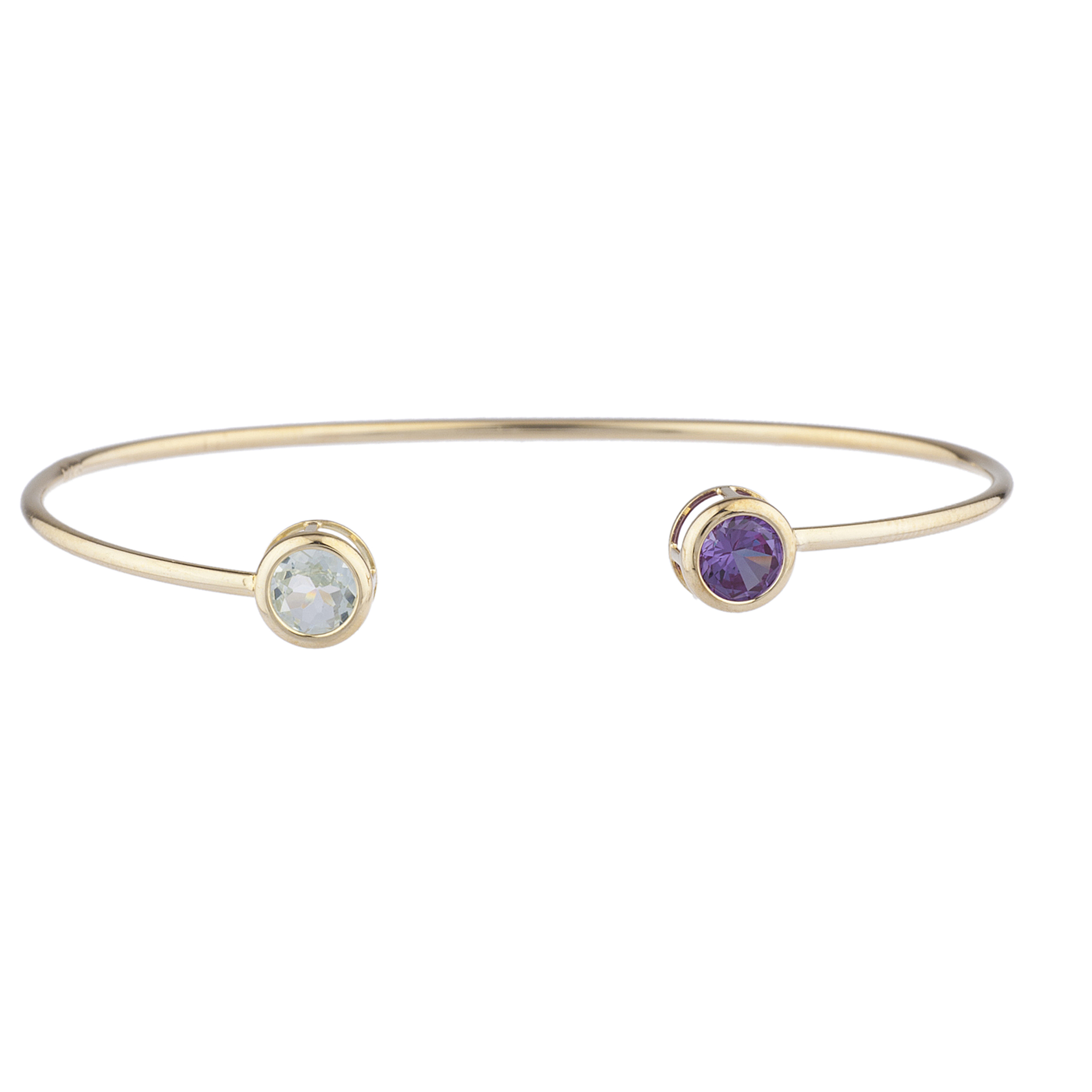 Genuine Aquamarine & Alexandrite Round Bezel Bangle Bracelet 14Kt Yellow Gold Plated Over .925 Sterling Silver by Elizabeth Jewelry Inc
