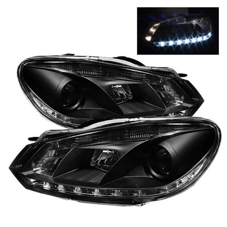 Spyder Volkswagen Golf / GTI 10-13 Projector Headlights - Halogen Model Only ( Not Compatible With Xenon/HID Model ) - DRL - Black - High H1 (Include