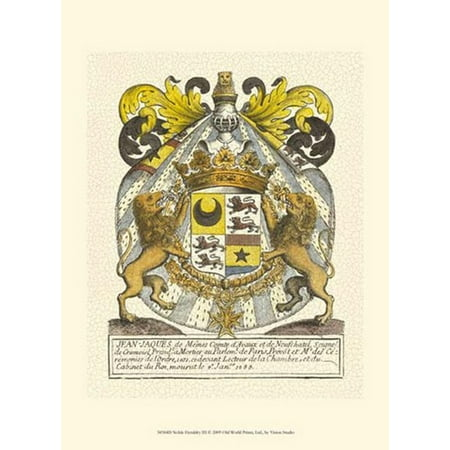 Noble Heraldry Iii Poster Print By Vision Studio  10 X 13