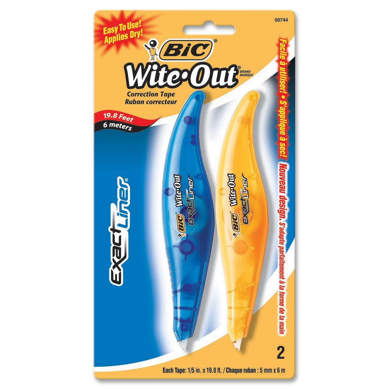 BIC Wite-Out Exact Liner Correction Tape, White, 2-Count