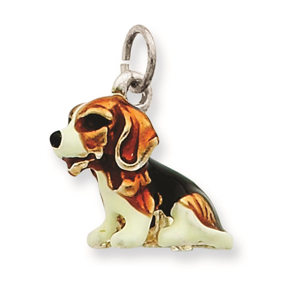 925 Sterling Silver Enameled Small Beagle Solid Charm Pendant