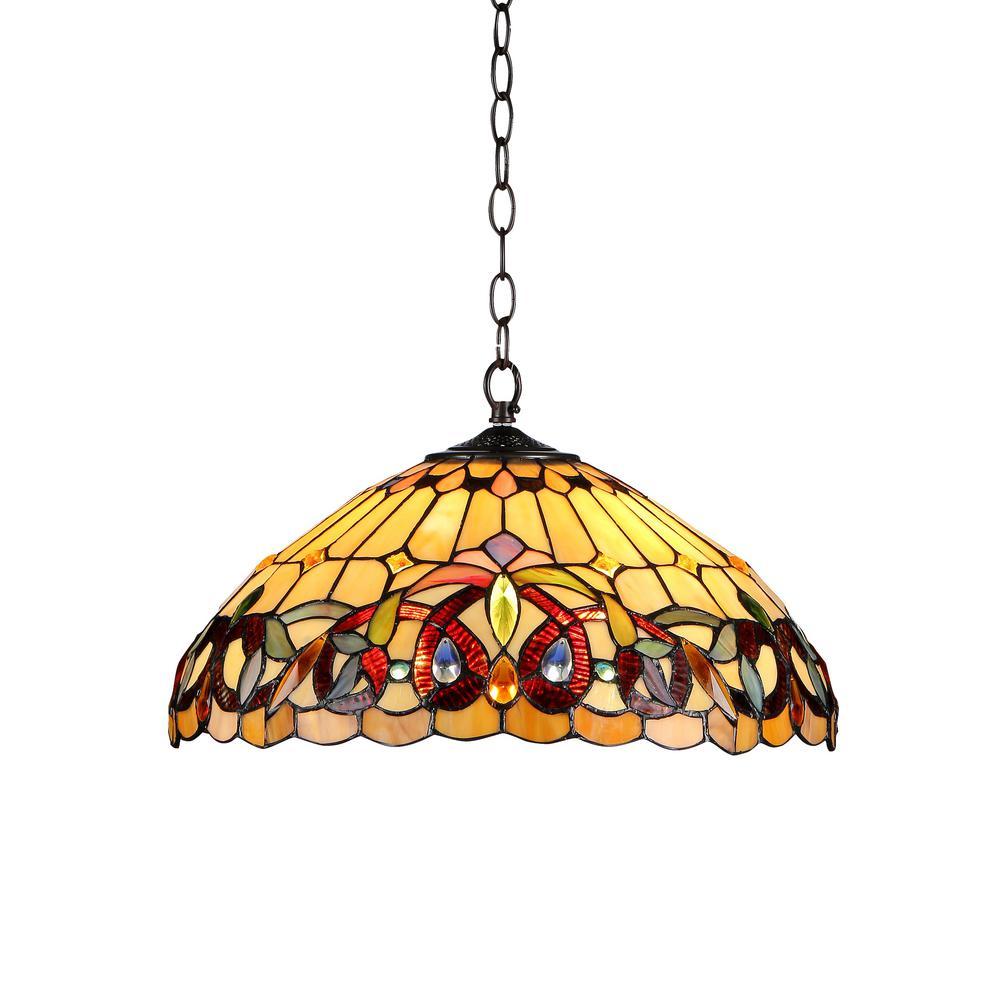 Serenity Tiffany Style 2 Light Victorian Ceiling Pendent Fixture 18 Shade Walmart Com Walmart Com
