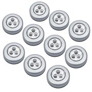 ESYNIC 10 Pcs self-stick n click 3 LED light battery operated push on/off touch lights warm white