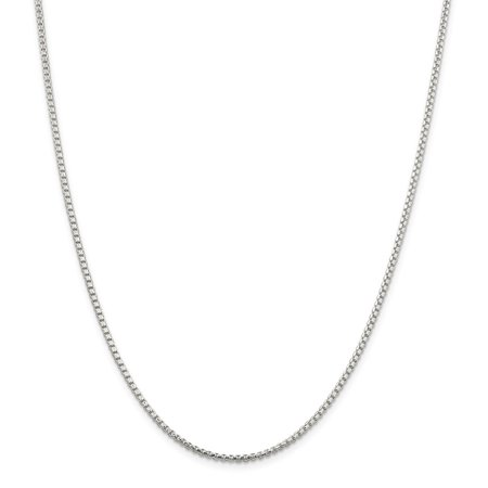 Sterling Silver 2mm Half Round Sparkle-Cut Fancy Box Chain Necklace - Length: 18 to 30