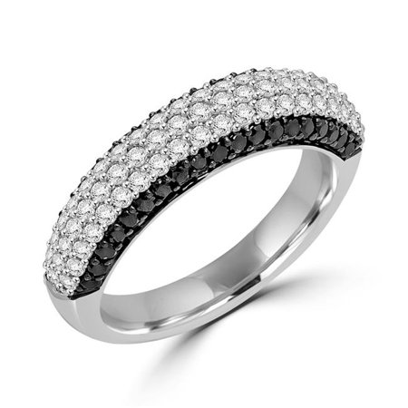 MDR170097-4.25 1.1 CTW Round Diamond Cocktail Ring in 14K White Gold - Size 4.25