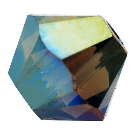 Iridescent Crystal - Swarovski Crystal, #5328 Bicone Beads 4mm, 24 Pieces, Crystal Iridescent Green 2X