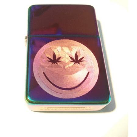 Vector KGM Thunderbird Custom Lighter - Smiley Face Marijuana Pot Weed Ganja Leaf Logo High Polish Rainbow Prism (Rainbow Marijuana Leaf)