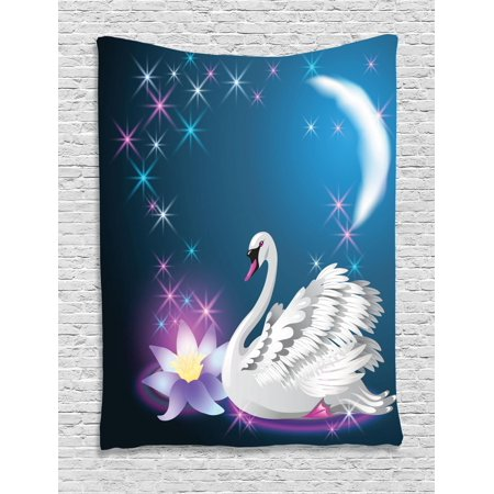 Slant Star - Swan Tapestry, Magic Lily and Fairy Swan at Night Swimming in Lake under Moon and Stars Picture Art, Wall Hanging for Bedroom Living Room Dorm Decor, Blue White, by Ambesonne