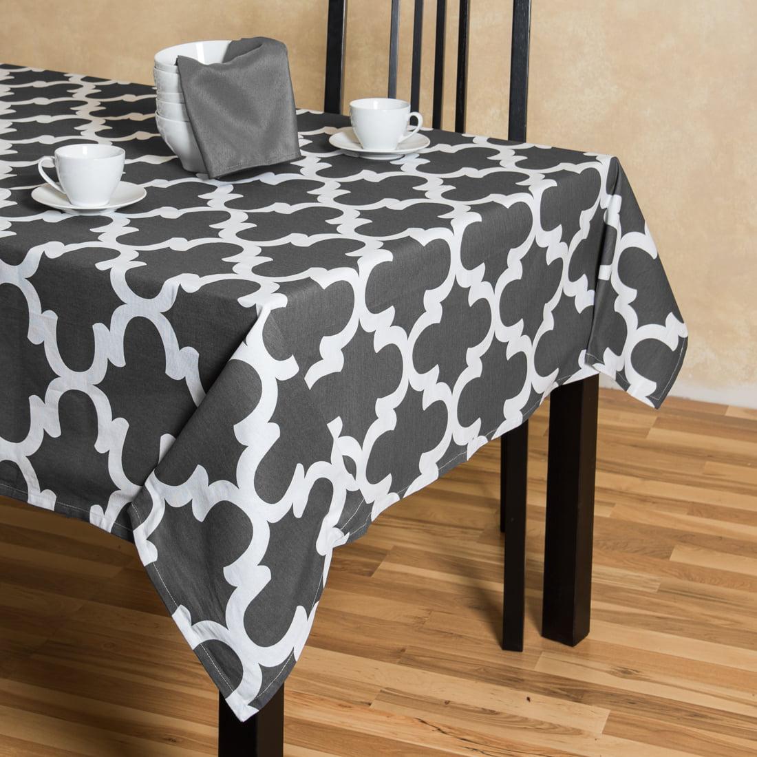 Trellis Rectangular Cotton Tablecloth Charcoal U0026amp; White   Walmart.com