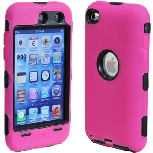Dual Flex Hard Hybrid Gel Case for  iPod Touch 4th Gen - Pink/Black