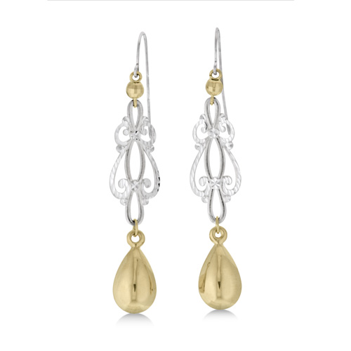 10k Ss Filigree Teardrop Earring