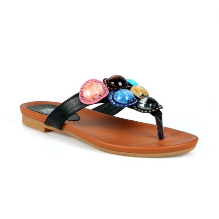 436057ed2c1b Divine - Brianna Multi Color Stone Women s Thong Sandals - Walmart.com