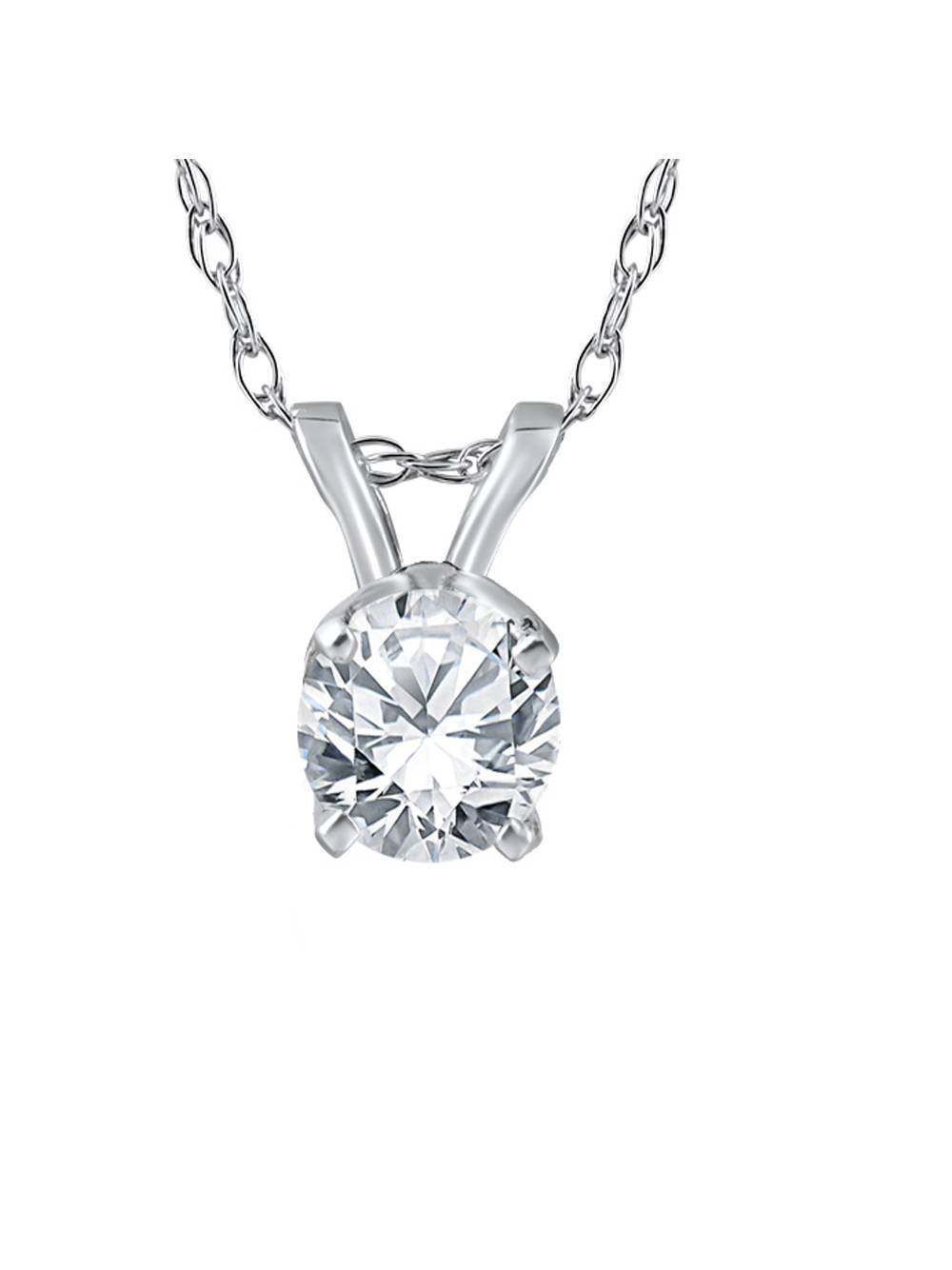 1/2ct Solitaire Round Diamond White Gold New Pendant Womens Necklace