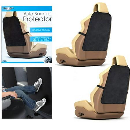 2 Auto Backrest Back Seat Protector Car Cushion Cover Care Travel Kick Mat Black