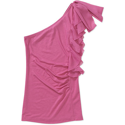 Susie Rose Juniors Plus One Shoulder Ruffle Top