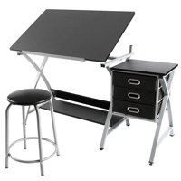 Adjustable Drafting Table Drawing Station Desk w/Stool
