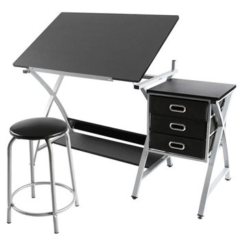 SmileMart Adjustable Steel Drafting Table with Stool