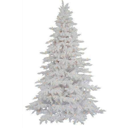 Vickerman Christmas Trees.Vickerman Pre Lit 6 5 Flocked White Spruce Artificial Christmas Tree Led Warm White Lights