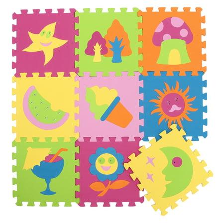 9pcs Eva Foam Mat Soft Interlocking Puzzle Multi Color