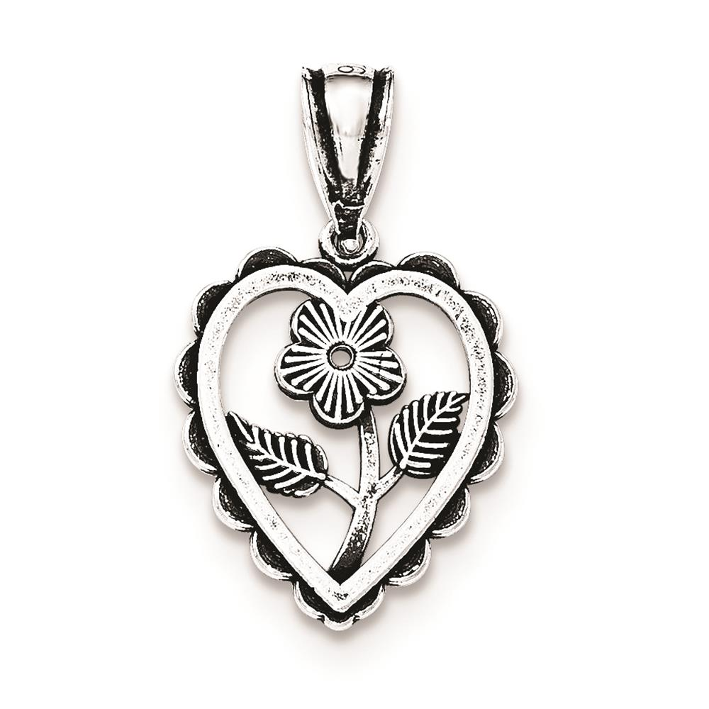 925 Sterling Silver Antiqued Textured Mini Flower Center Heart Charm Pendant